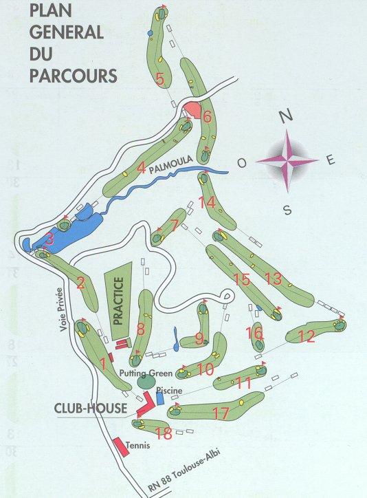 GOLF DE TOULOUSE PALMOLA: \'Palmola\' course map